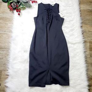 Belle Sky Womens Black Midi  Dress